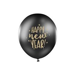 BALONY HAPPY NEW YEAR CZARNE 30cm 5szt-4324